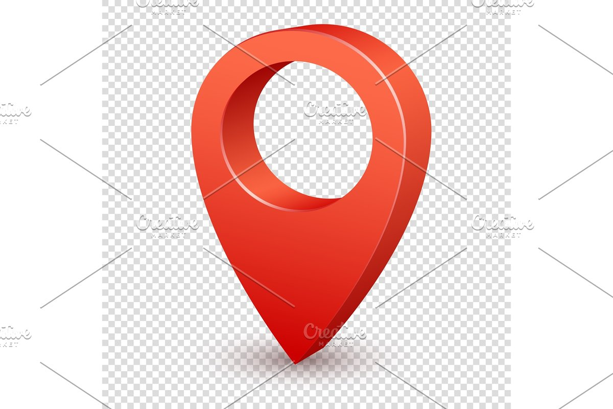 Map pointer 3d pin. Pointer red pin