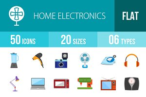 50 Electronics Flat Multicolor Icons