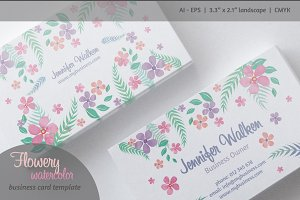 Flowery Watercolor Business Card