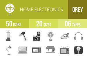 50 Home Electronics Greyscale Icons