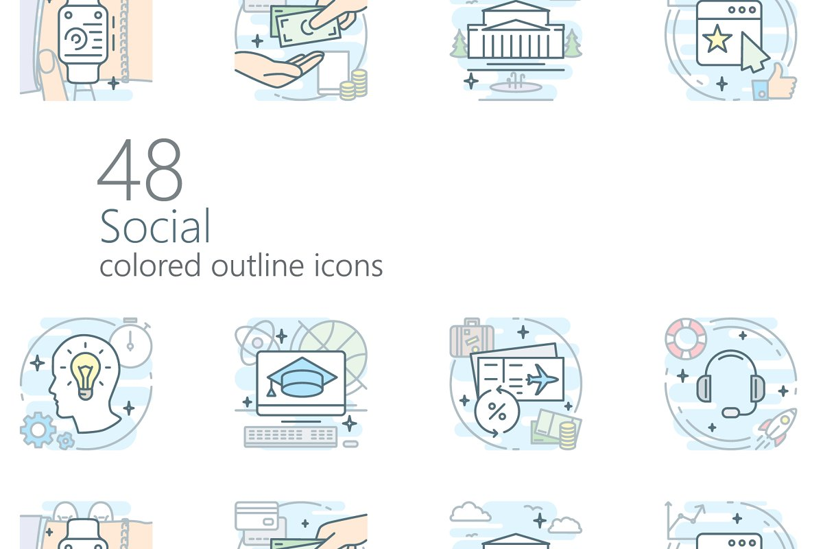 Social iconset (colored outline)