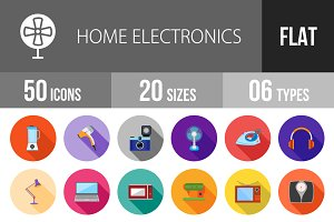 50 Electronics Flat Shadowed Icons