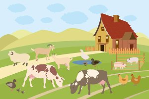Rural scene with farm animals