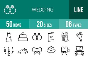 50 Wedding Line Icons