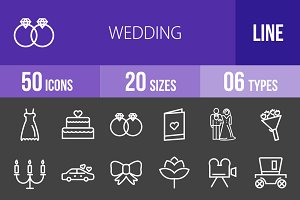 50 Wedding Line Inverted Icons