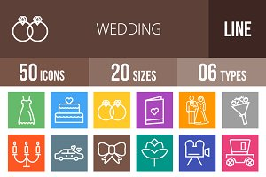 50 Wedding Line Multicolor Icons