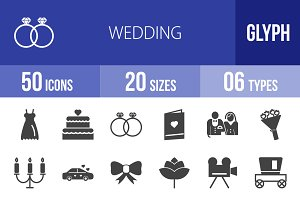 50 Wedding Glyph Icons