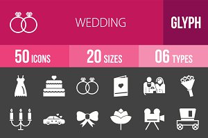 50 Wedding Glyph Inverted Icons