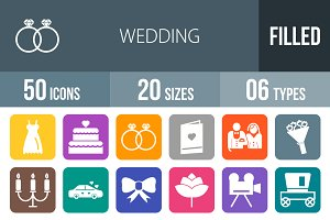 50 Wedding Flat Round Corner Icons