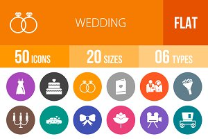 50 Wedding Flat Round Icons