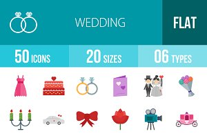 50 Wedding Flat Multicolor Icons