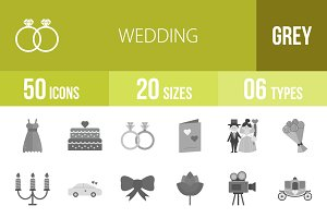50 Wedding Greyscale Icons
