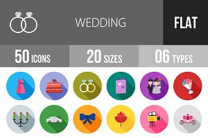 50 Wedding Flat Shadowed Icons