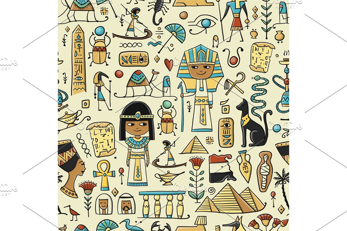 Travel to Egypt. Seamless pattern