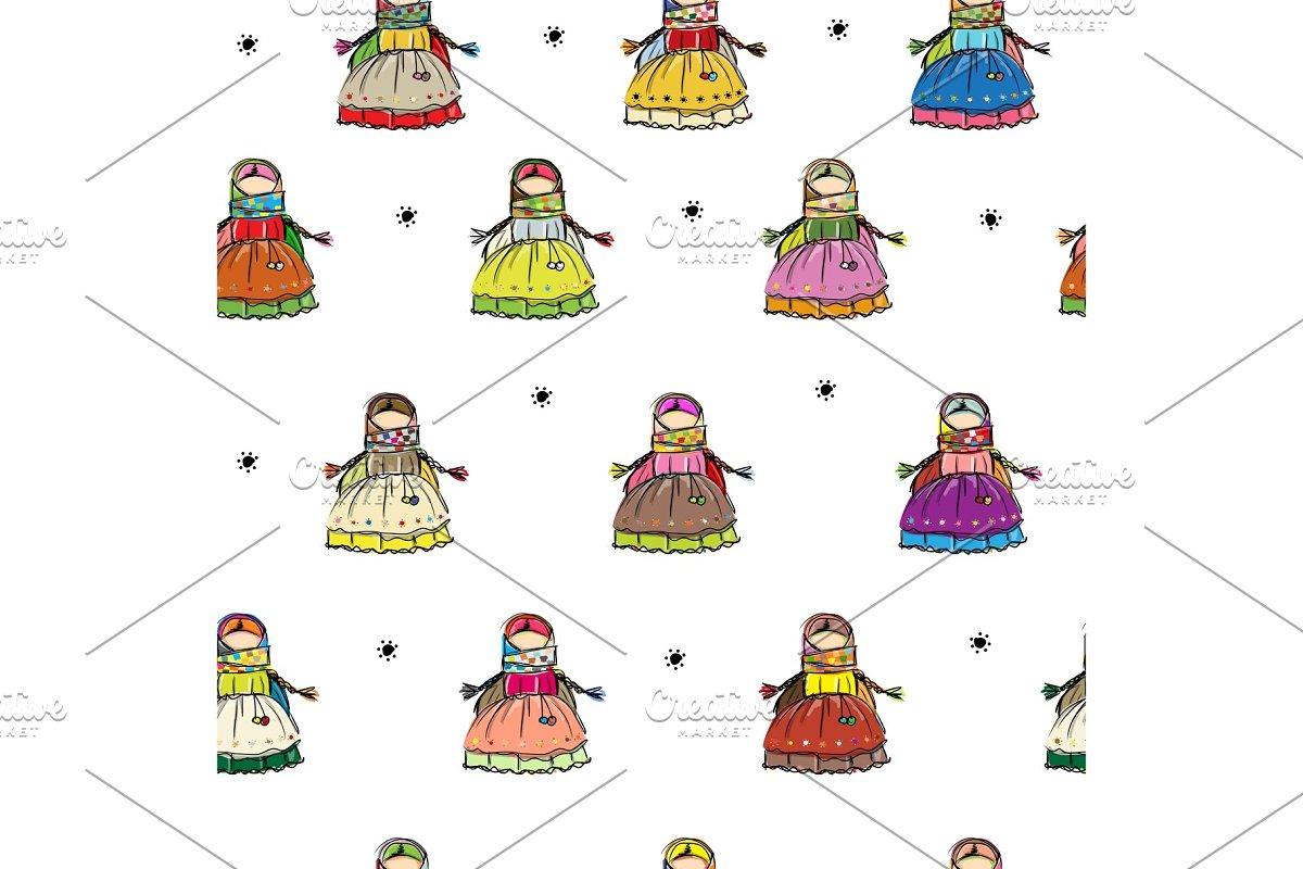 Handmade folk doll mascot, seamless