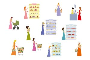 Women in the supermarket