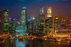Illuminated Singapore night view