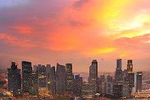 Beautiful sunset skyline, Singapore