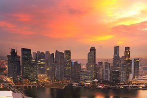 Beautiful sunset skyline, Singapore