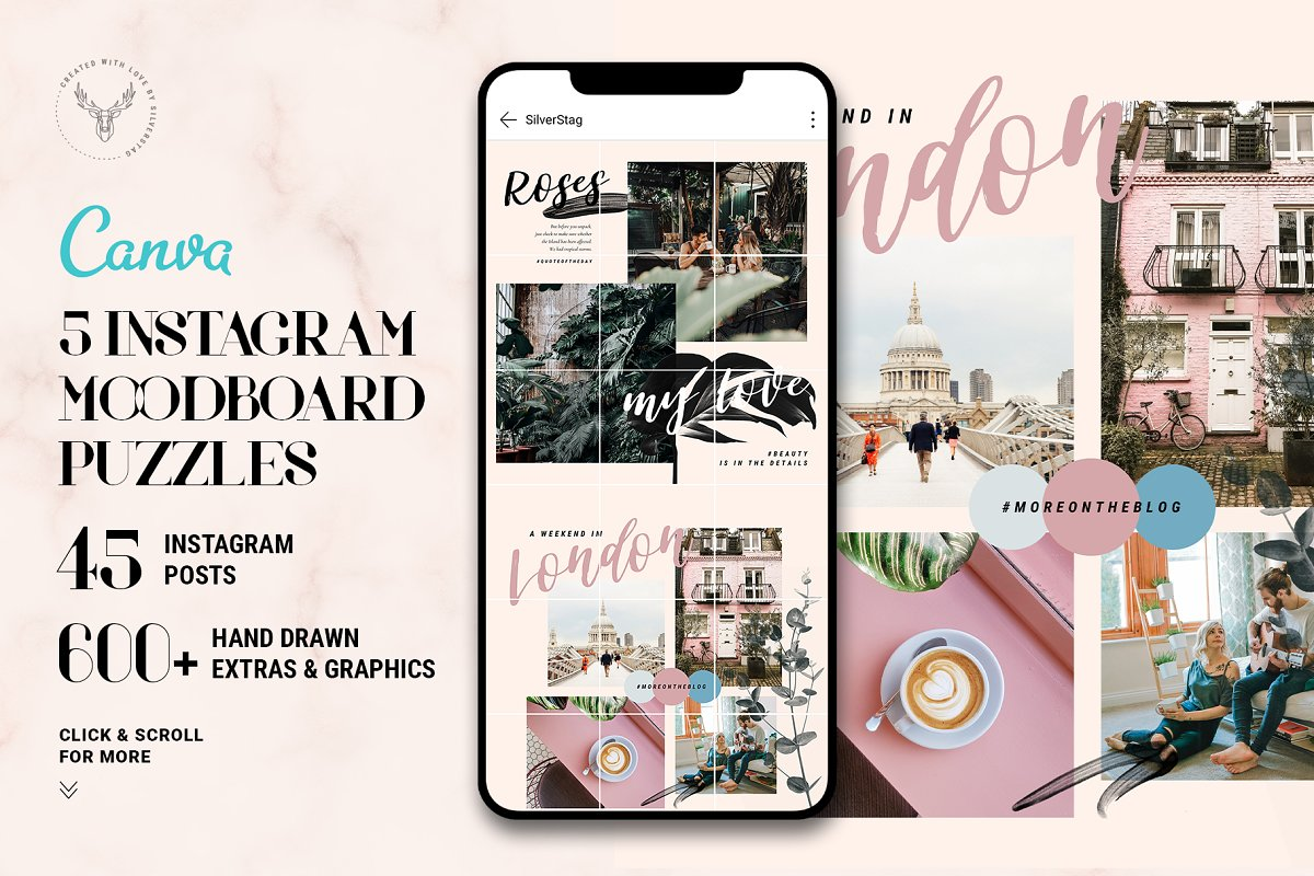 #InstaGrid 6 - Canva Puzzle Template