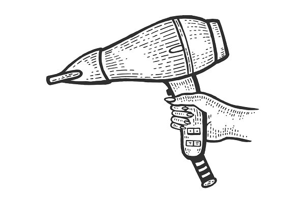 Hair Dryer In Hand Sketch Engraving Pre Designed Photoshop Graphics Creative Market