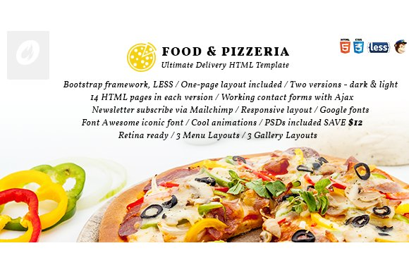 food pizzeria ultimate delivery website templates creative market. Black Bedroom Furniture Sets. Home Design Ideas