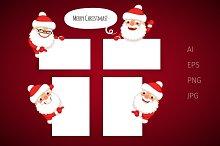Set of Cartoon Santa Claus Banners