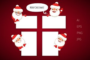Set of Cartoon Santa Claus Banners