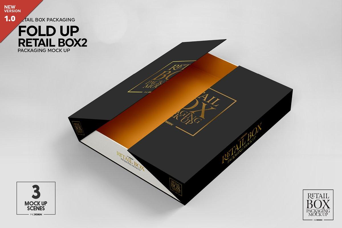 Fold Up Retail Thin Box Mockup Creative Branding Mockups