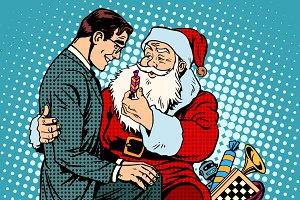 Santa Claus and businessman