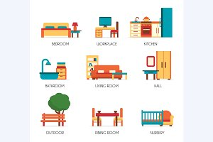 Furniture icons set.