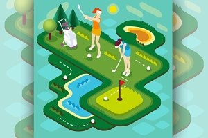Golf Match People Isometric