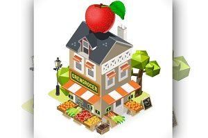 Greengrocer Shop City Building 3D