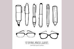 Set of hand drawn pens and glasses.