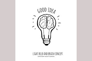 Lightbulb  and brain.