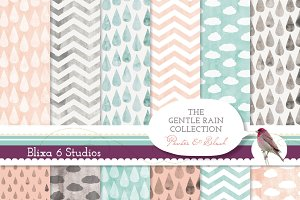 Gentle Rain Watercolor Digital Paper