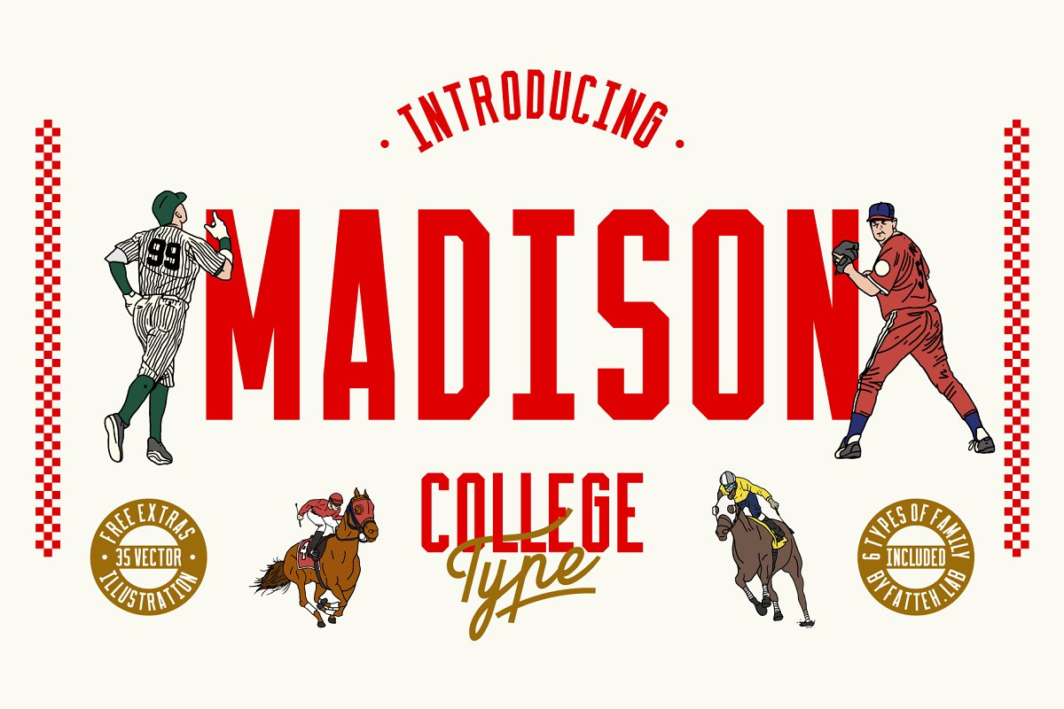 Madison | Display With Free Vector ~ Display Fonts ~ Creative Market
