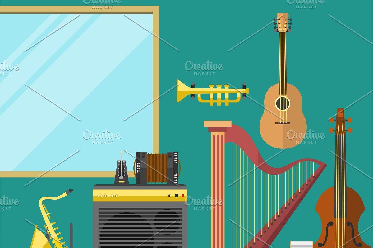 Music studio musical instruments