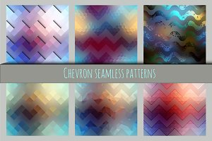 Set of chevron seamless patterns.