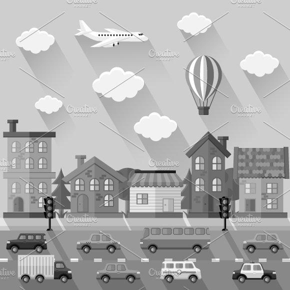 Set of city landscapes. Flat design - Illustrations