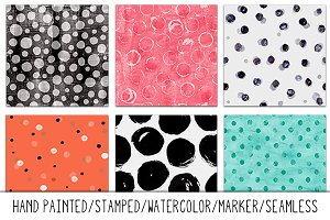 Seamless Hand Painted/Stamped Dots