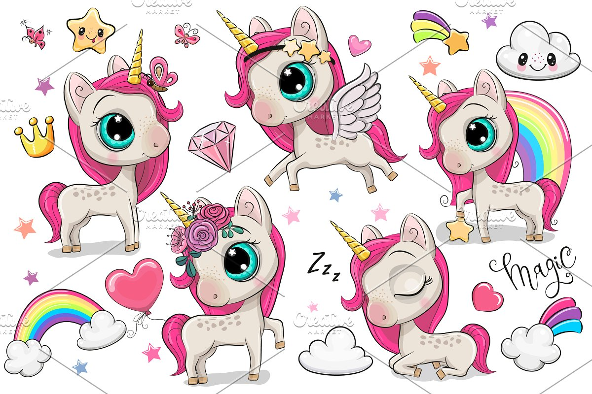 Set of Cute Cartoon Unicorns Clipart