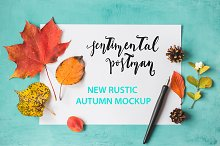 Rustic autumn mockup.
