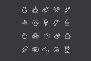 Bakery and Pastry Outline Icons Set.