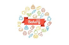 Bakery Shop Concept Outline. Vector