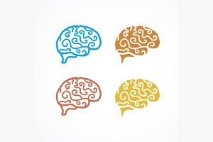 Brain Icon Set. Vector