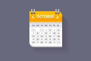 Calendar Flat Design. Vecto