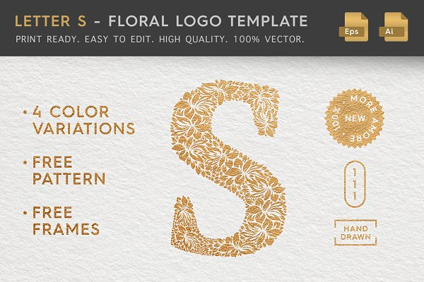 Letter S - Floral Logo Template
