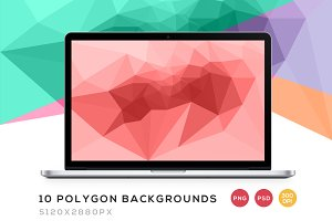 10 Polygonal Backgrounds PNG/PSD