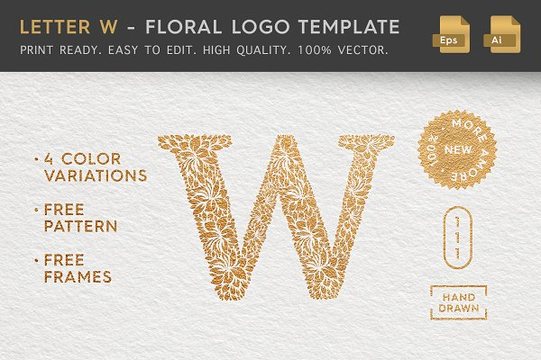 Letter W - Floral Logo Template